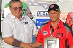 Dee Berghauer (UIM Commissioner) presents medal to Mark Schmerbauch. 1st Place. SST45 class